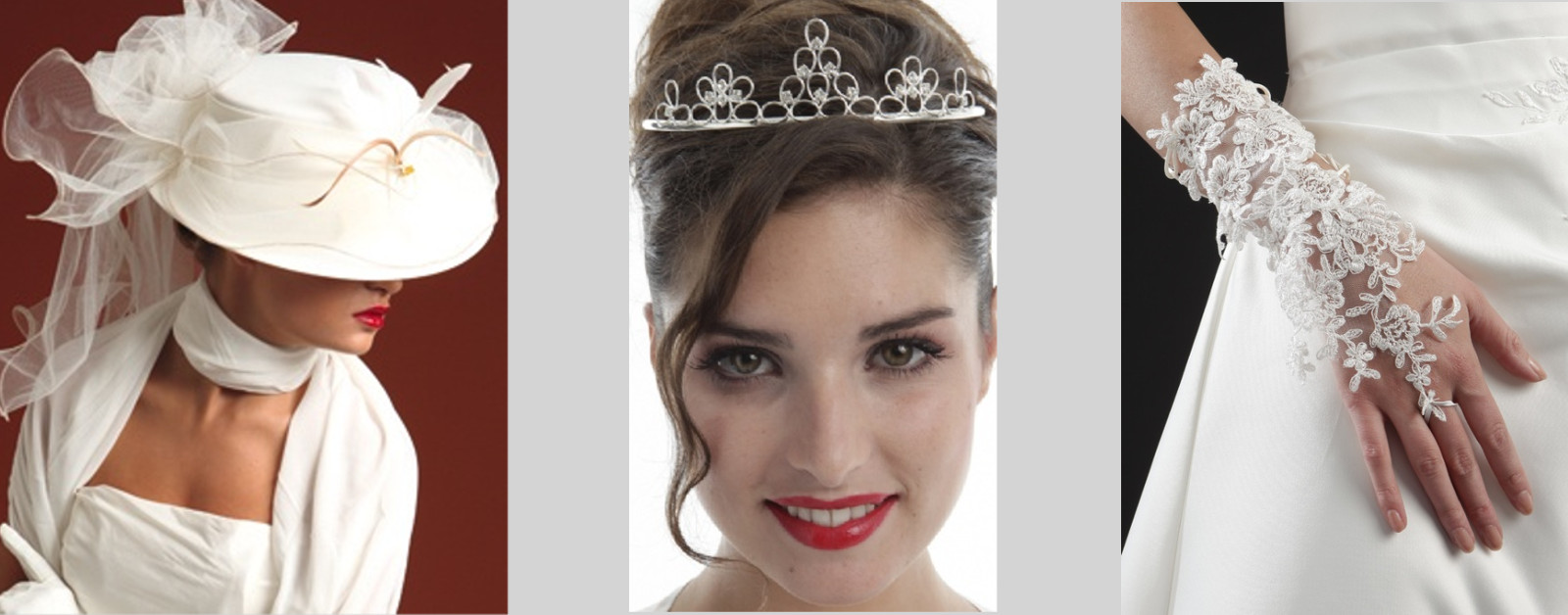 Chapeau, tiare, diadème, mitaines de la mariée sur compiègne et noyon