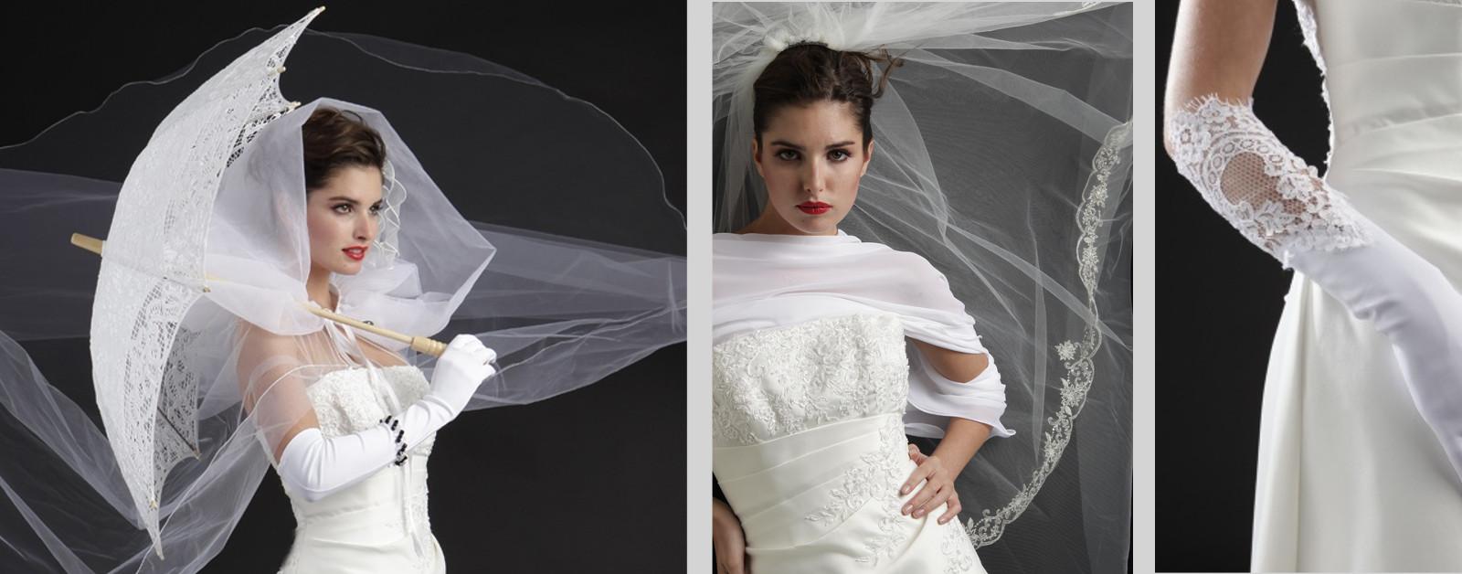 Voile, jupon, ombrelle, gants de mariage sur compiègne et noyon